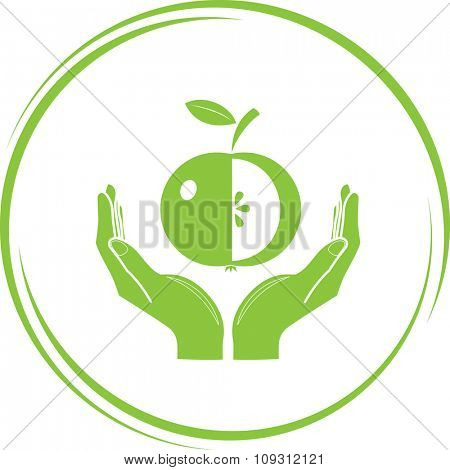 apple in hands. Internet button. Raster icon.