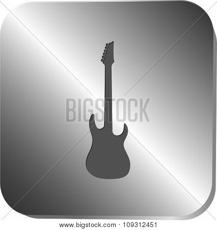 Guitar silhouette icon on a metal button