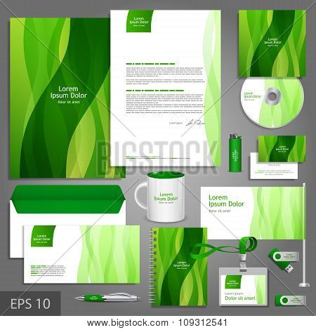 Floral Corporate Identity Template With Leaves