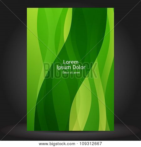 Green Brochure Template Design With Floral Elements
