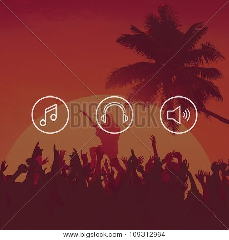 Youth Teens Party Beach Fun Happiness Music Dancing Popular Joy Summer Concept