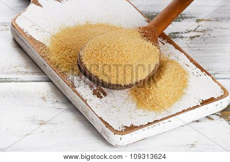 Cane Sugar With Stevia In A Wooden Spoon.