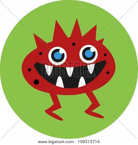 Vector illustration of isolated cute cartoon alien monster on a blue background