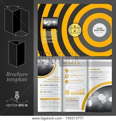 Orange Brochure Template Design With Round Elements