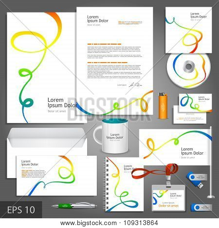 White Corporate Identity Template With Color Art Elements