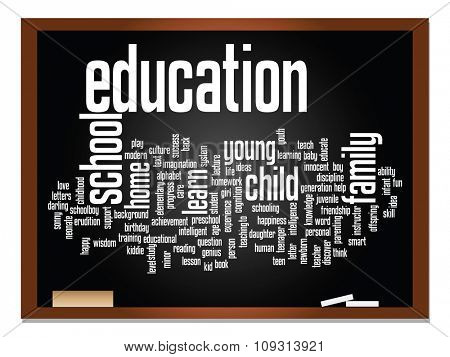 Concept or conceptual education abstract word cloud, blackboard and chalk background