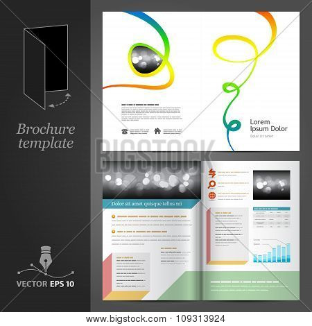 White Brochure Template Design With Color Art Elements