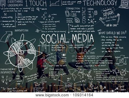 Communication Friends Search Share Jumping Social Media Internet Online Concept