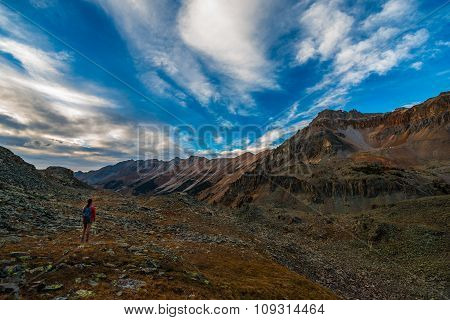 Girl Backpacker On A Crystal Lake Trail Above The Ophir Pass Summit Colorado Landscape