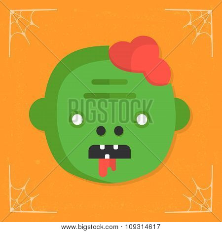 Zombie head icon vector