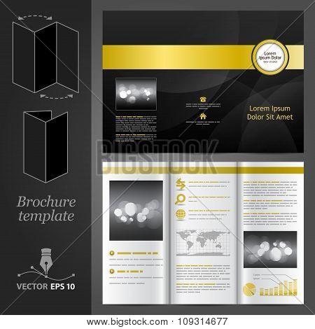 Black Brochure Template Design With Golden Elements