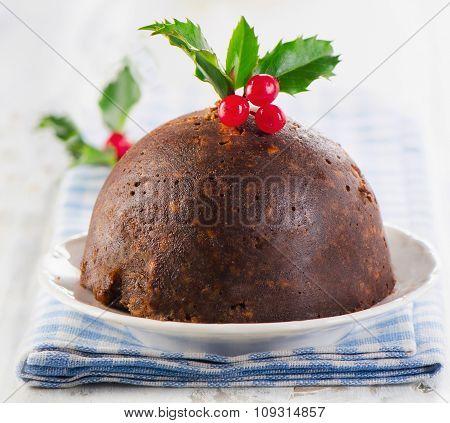 Christmas Homemade Pudding With Holly.