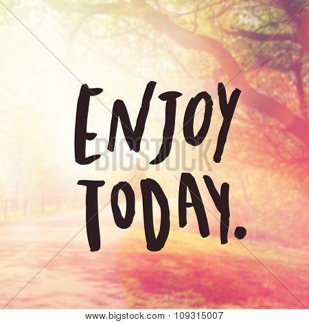 Inspirational Typographic Quote - Enjoy today