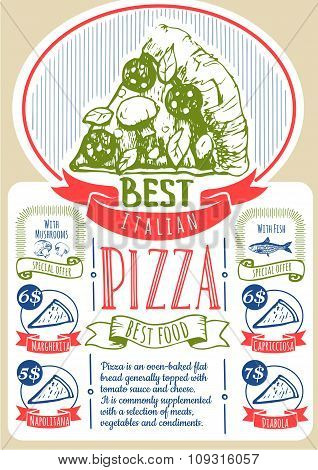 Vector illustration with pizza menu. Pizza Poster.
