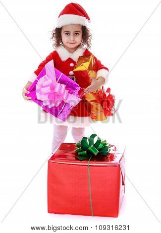 girl with a gift in their hands