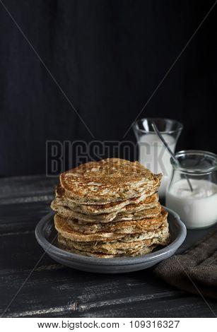 Healthy Breakfast Or Snack - Whole Grain Pumpkin Pancake, On A Dark Wooden Table