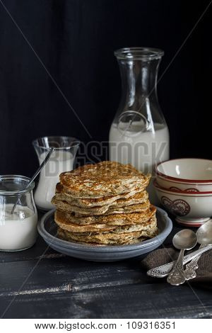 Whole Grain Pancakes. Healthy Food. Rustic Style