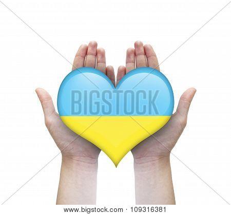 Heart With Ukraine Flag In Woman Hands