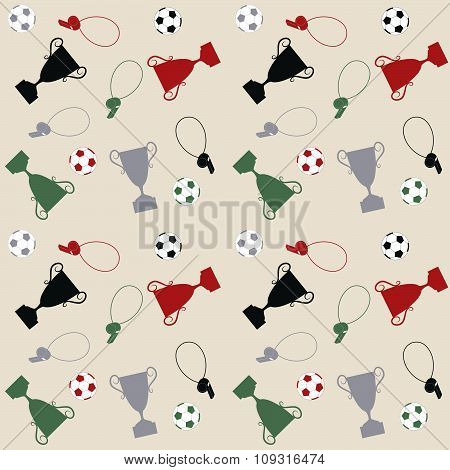 Seamless pattern with balls and cups
