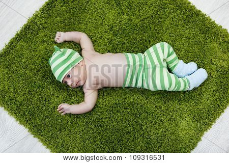 Cute Baby On The Soft Rug