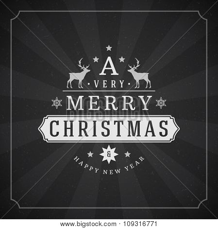 Merry Christmas Greetings Card or Poster Design. Blackboard vector background and retro chalk typography holidays wishes.