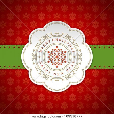 Merry Christmas Greetings Card or Poster Design. Textured paper snowflakes pattern vector background and retro typography holidays wishes.