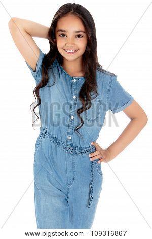 Fashionable dark-haired girl