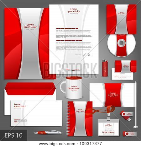 Red Corporate Identity Template With Silver Stripe