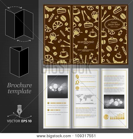 Brown Brochure Template Design With Food Elements