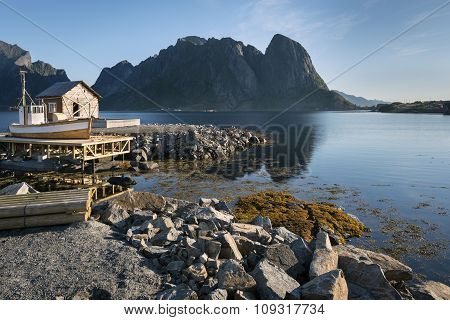 Wooden House On Hamnoy Island, Norway