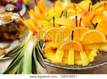 Slices Of Orange On A Tray