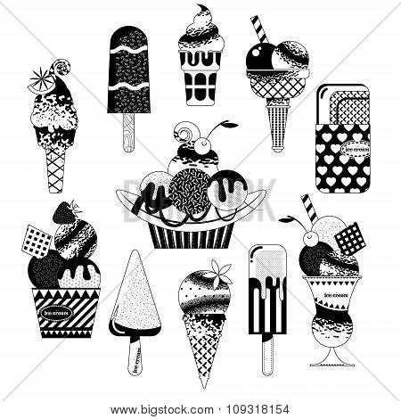 Different Flavors Of Ice Cream. Black And White.