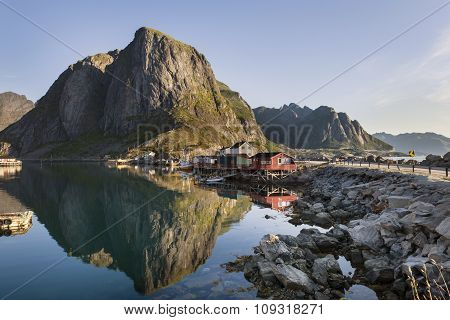 Red Fishing Hut (rorbu) On The Hamnoy Island