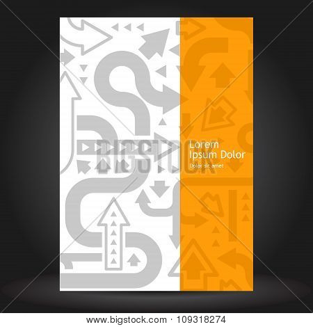 Orange Brochure Cover Design With Gray Arrows