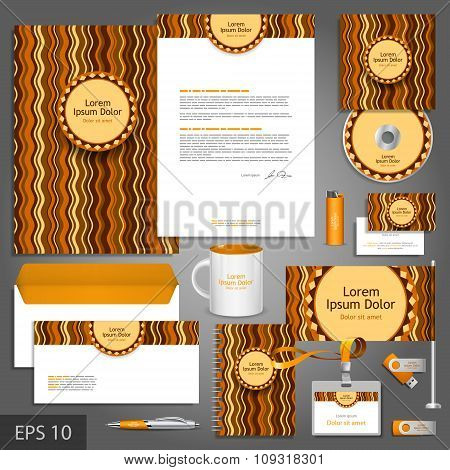 Brown Corporate Identity Template With Waves
