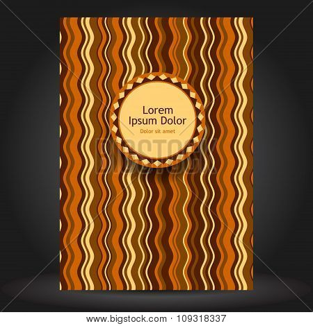 Brown Brochure Cover Design With Waves