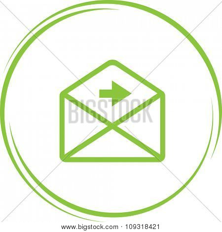 mail right arrow. Internet button. Vector icon.