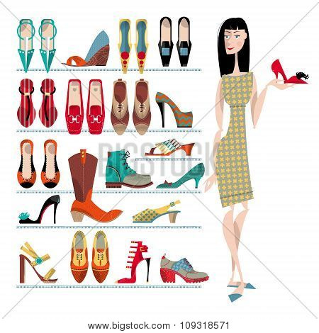 Woman With Collection Of  Shoes On White Background. Shopping Time.