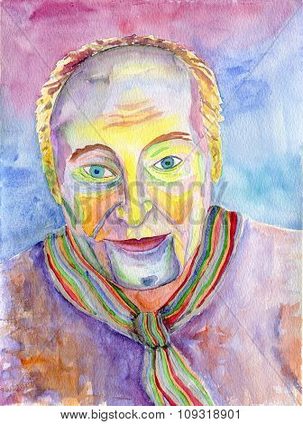 Portrait Of A Man. Figure In The Avant-garde Style. Watercolor Painting.