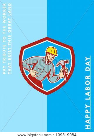 Labor Day Greeting Card Builder Carpenter Shouting Shield