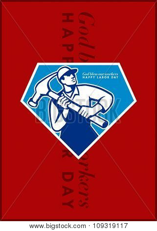 Labor Day Greeting Card Builder Worker Hammer