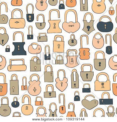 hand drawn coloful locks seamless vector pattern