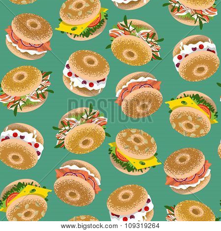 Bagels With Various Topping. Seamless Background Pattern.