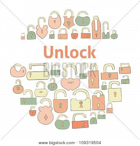 opened locks vector illustration for your design