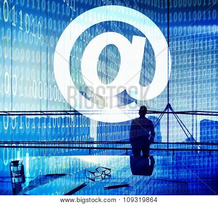 At Symbol Connection Communication Email Internet Concept