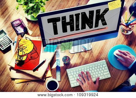 Think Inspiration Knowledge Solution Vision Innovation Concept