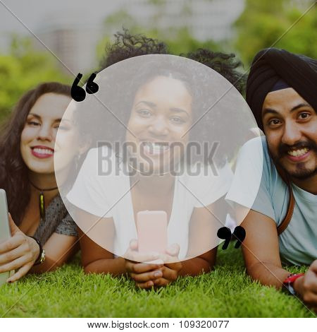 Friends College Students Smiling Happy Green Field Relaxing Chilling Hanging Out Concept