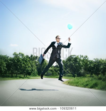 Balloon Executive Flying Success Business Rise Start Concept