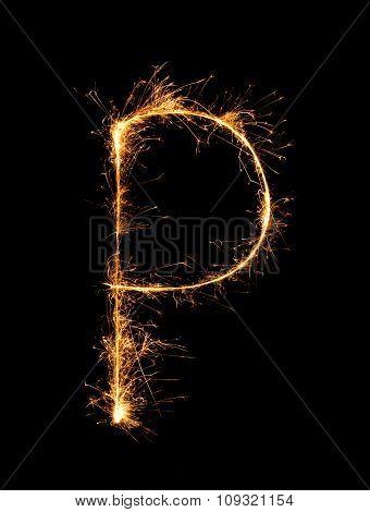 Sparkler Firework Light Alphabet P At Night