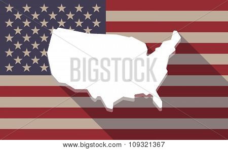 Long Shadow Vector Usa Flag Icon With  A Map Of The Usa